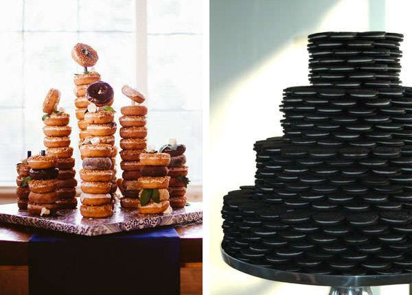 Donut stacks and oreo cookie groom's cakes for your man who has a sweet tooth.