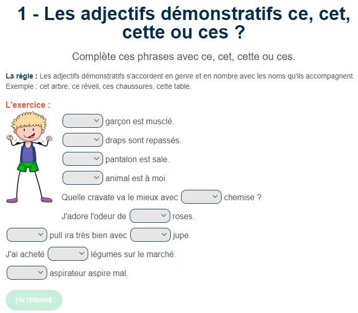 Exercice de français : Les adjectifs démonstratifs ce, cet, cette ou ces ? | Exercice francais ...
