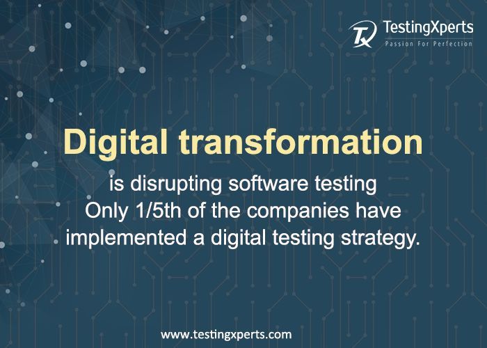 #DigitalTransformation is #disrupting the #world of #SoftwareTesting. Only 1/5th of the companies have implemented a #DigitalTesting strategy. Have you?