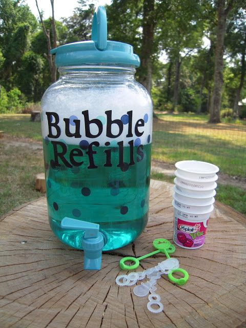DIY: Bubbles   Refill Container (bubble recipe included!)2 1/2  cups water and 1/2 cup light corn syrup mix in a bowl together and microwave four minutes Gently mix 1/2 cup dish liquid (I was told Dawn is the best)