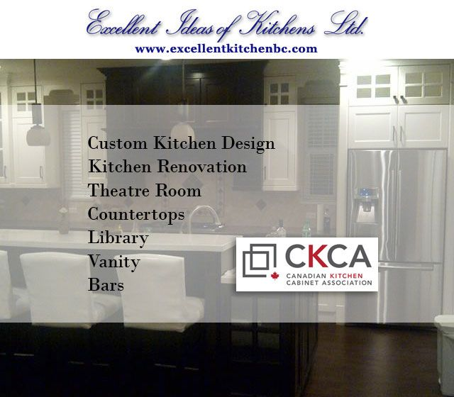 www.excellentkitchenbc.com #kitchenideas #excellentideasofkitchens #kitchenrenovation #homebuilders #kitchencabinets #bathroomvanity #entertainmentunit #countertops #theatreroom #library