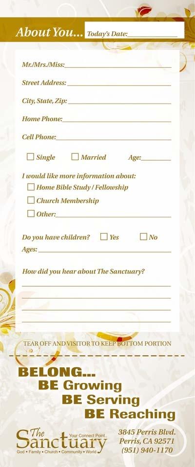 church guest card back