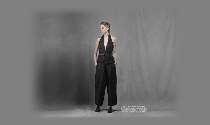 Malloni black collection S13 gilet slacks belt shoes