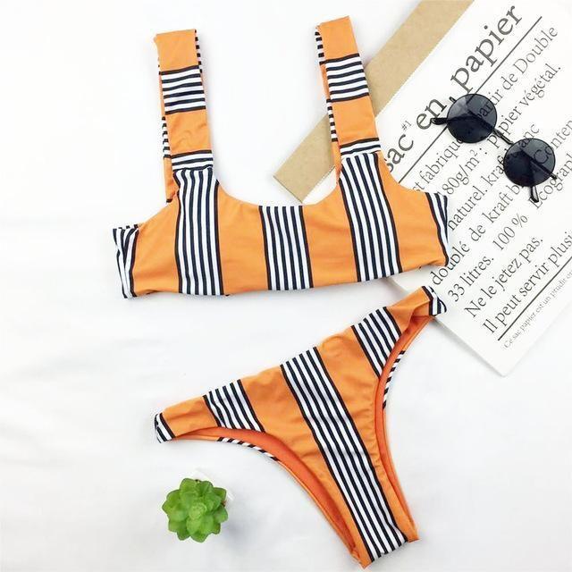 Orange Striped Bow Bikini Set
