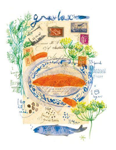 Kitchen art print Pie recipe illustration French by lucileskitchen