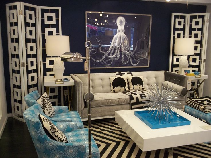 Jonathan Adler Blue Living Room With Octopusdesign Crush Jonathan Adler A  Collection Of Home Decor Ideas