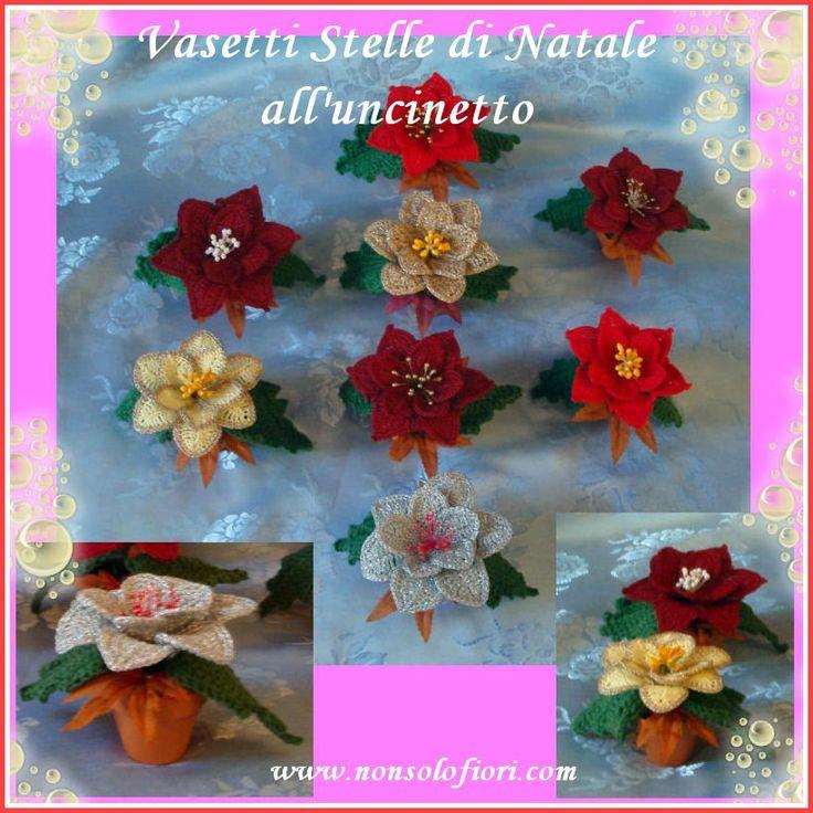 Vasetti segnaposto in terracotta con Stelle di Natale all'uncinetto - www.nonsolofiori.com
