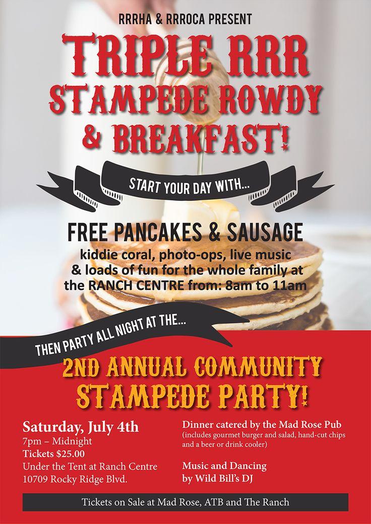 Calgary Stampede Breakfast Poster Design for the Royal Oak & Rocky Ridge communities in NW Calgary.