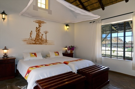 The beds in one of the Canyon Village bungalows.