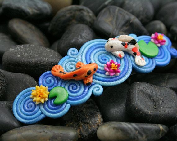 Starless Clay: Koi Pond French Barrette in Polymer Clay Filigree.