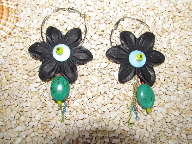 Handmade earrings (1 pair)  Made with leather flowers, antiallergic hoops, colourful chain parts, glass beads and gemstones.