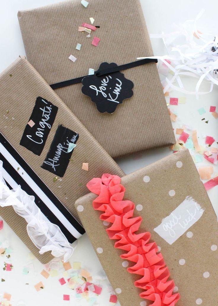 Graduation Gift Wrapping Ideas Part - 25: Graduation Gift Ideas // Chalkboard Gift Wrap From Joann.com