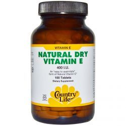 Country Life, Gluten Free, Natural Dry Vitamin E, 400 Iu, 100 Tablets, Diet Suplements ST