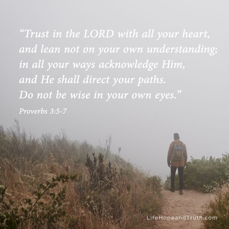 "Proverbs 3:5-7 - ""Trust in the LORD with all your heart, and lean not on your own understanding"