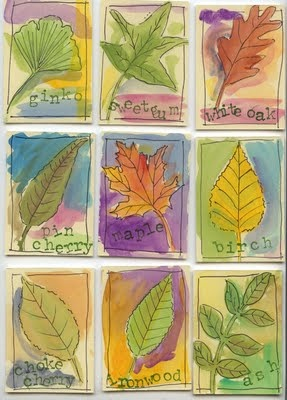Leaf watercolours. Not much explanation here but the picture is inspiring.