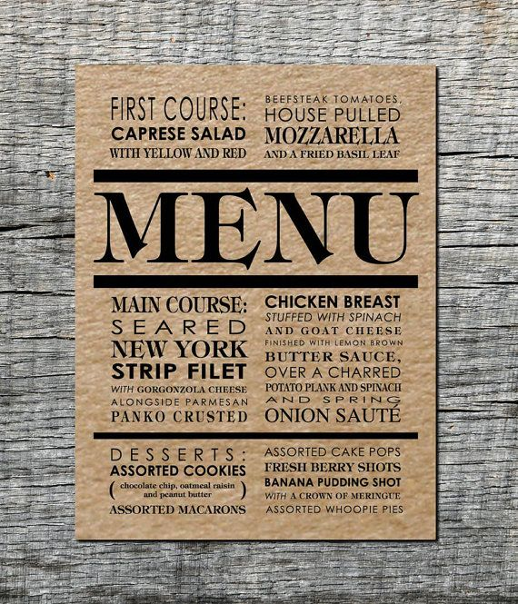 Menu Card Custom One Two or Three Course by differentdesigns10