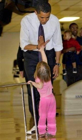 Kinda Fair And Unbalanced News:  Obama high fives his new liberal convert.