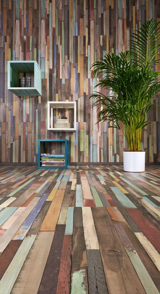 Praxis | Dit laminaat ziet eruit als een assortiment van sloophout, wat door de verschillende kleuren een heel bijzonder effect geeft!