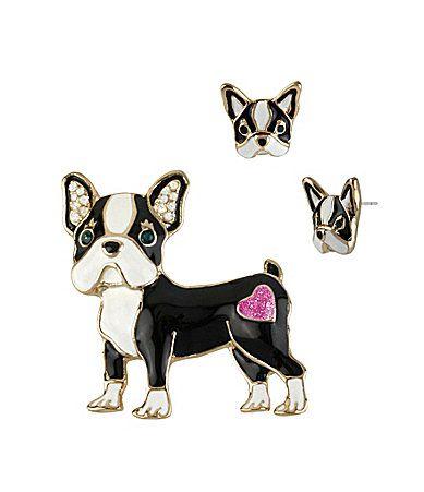 Betsey Johnson Bulldog Pin and Stud Earring Set Boxed Gift #Dillards