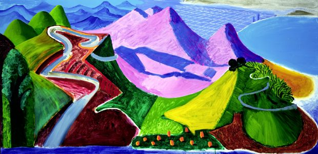 Small Santa Monica & The Bay From the Mountains, 1990  oil,   36x72 in. - by David Hockney