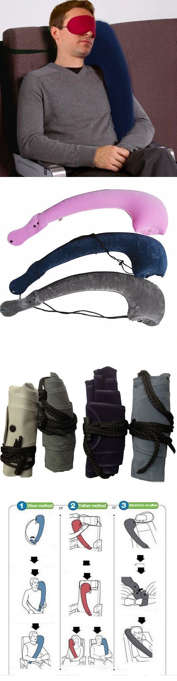 US$6.22  90x28cm Comfortable Portable Inflatable Pillow Camping Travel Neck Pillow Cushion