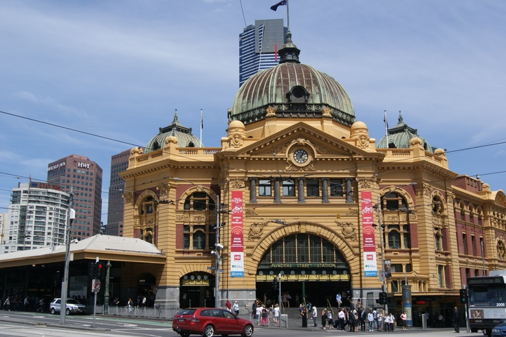 #Travel:  #Flinders Street Station, #Melbourne, #Australia.  Corner of Flinders & Swanson Streets.  The first railway station in an Australian City.  Photo Credit: Dawne Rudman