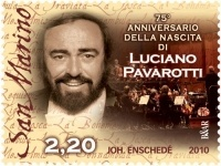 The Republic of San Marino issued a postage stamp to commemorate the 75th anniversary of Luciano Pavarotti birth.