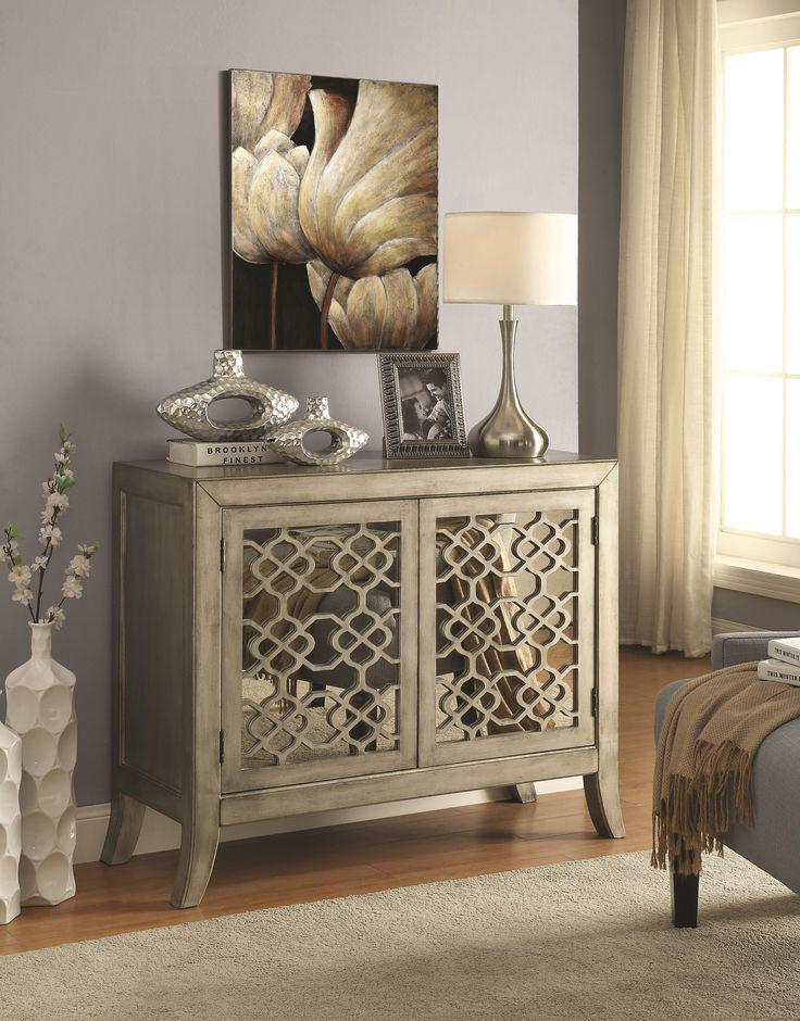 Coaster Accent Cabinets Accent Cabinet w/ Lattice Overlay - Coaster Fine Furniture