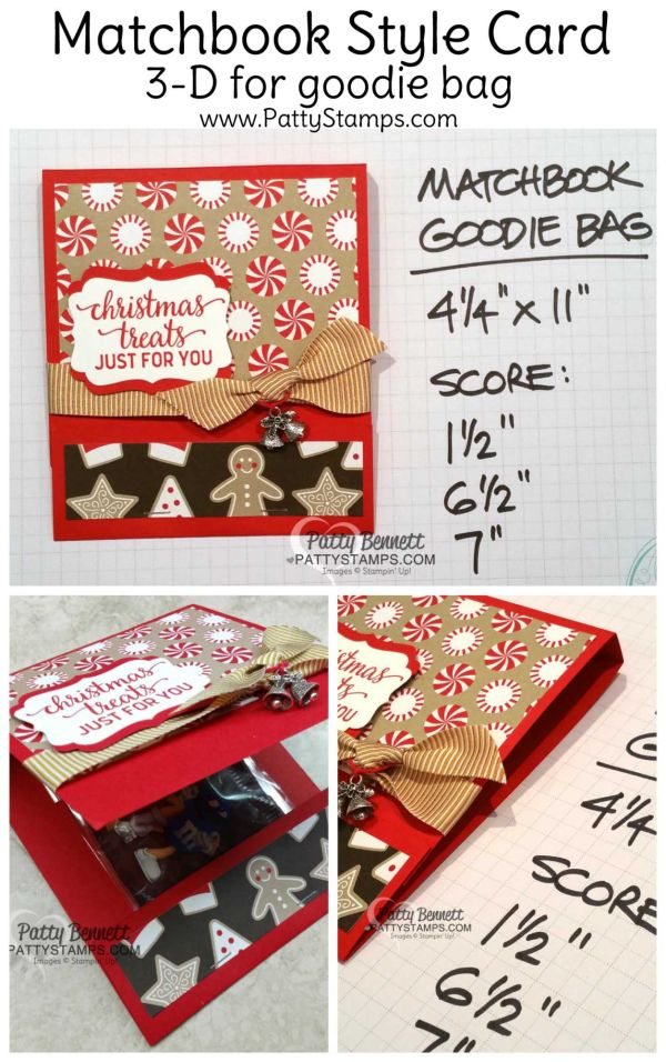 Measurements for Candy Cane Lane matchbook style card or gift / goodie bag holder idea for Christmas, with Stampin' Up! products, by Patty Bennett for the Luv 2 Stamp group