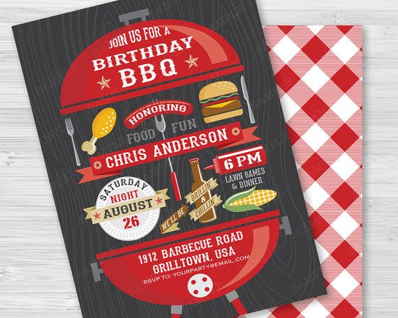 BBQ Party Invitation / Birthday Party Barbecue by PaperSunStudio — A red kettle bbq grill with all the goodies for your barbecue party. Barbeque items include: hot dog, hamburger, chicken, corn, paper plate, banners, ketchup, beer bottle, fork & knife. The back of the card features a cute picnic gingham tablecloth.