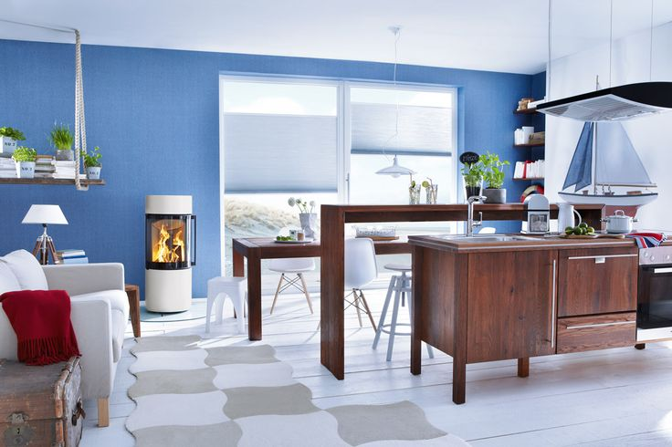 Passo XS from Spartherm - available at Wendron Stoves Ltd in Cornwall.  lovely nautical feel to this room.