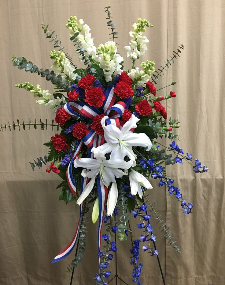 15 best ideas about flowers for funeral on pinterest for Red white blue flower arrangements