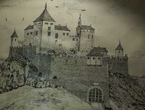 Cachtice Hrad - The Castle of Elizabeth Bathory. Castle Cachtice as it appeared in the time of the Blood Countess.