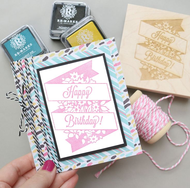 Who says handmade cards have to be old-fashioned? | Happy Birthday Bouquet Banner Rubber Stamp