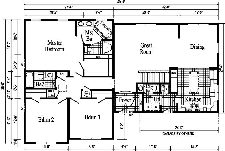 Floor plans for ranch homes with 3 bedrooms rochester t for Modular ranch plans