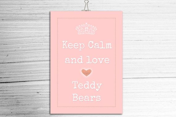 KEEP CALM Teddy Bear Poster  A4 Poster  Retro  by TeacupTeddyBears