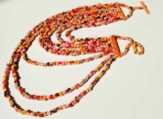 Colored Pencil Necklace Now you know what to do with those stubs By Margherita Marchioni of Italy www.materiamorfosi.it