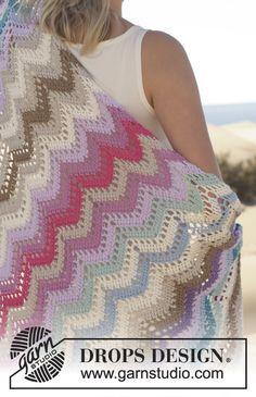 Beach Party, free pattern 155-37 by DROPS Design for Garn Studios. A lacy ripple blanket for summer. . . . . ღTrish W ~ http://www.pinterest.com/trishw/ . . . . #crochet #afghan #throw