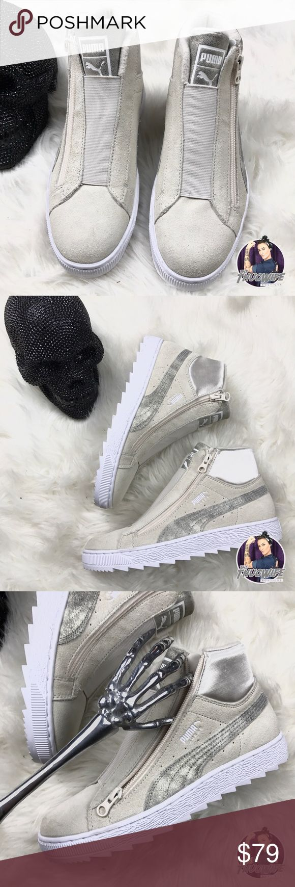 Puma high top zipper side sneakers NEW WITH TAGS    Fckn badass beige suede pumas . Full side zip up . High top . Pair with your favorite jeans for a unique pop .  Use the OFFER BUTTON     BUNDLE FOR 10% OFF • 5 star rating  • smoke free  • always 100% authentic    www.thethugwife.com     N O   TRADES  please ladies lets be nice  Puma Shoes