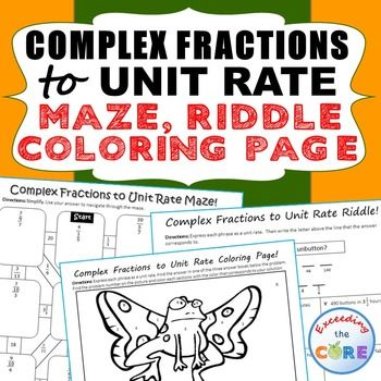 complex fractions to unit rate maze riddle coloring page ve your students apply their. Black Bedroom Furniture Sets. Home Design Ideas