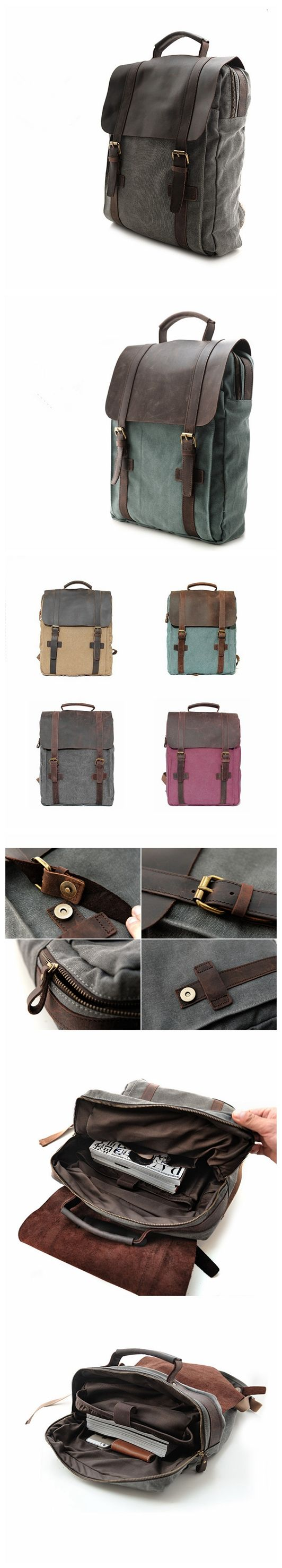 Hot Sale Canvas Leather Backpack, Waxed Canvas Shoulder Bag School Backpack
