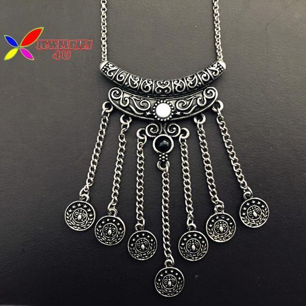 Богемный винтажный античное серебро металл бабочка резной монета кисточка ложные воротник ожерелья и подвески для женщины купить на AliExpress