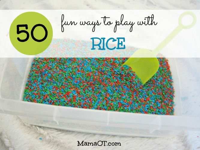 50 fun ways to play with rice! Includes simple recipes plus ideas for play and learning.
