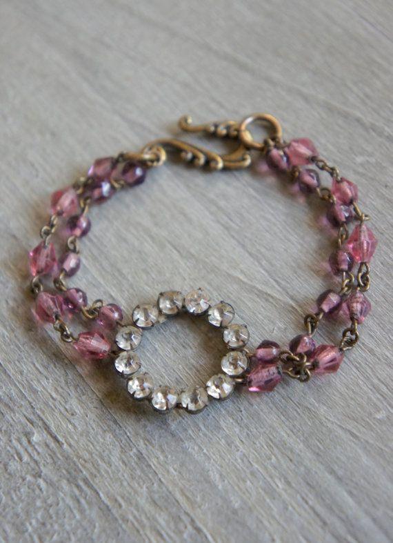 Pink Delight Vintage bracelet vintage by frenchfeatherdesigns