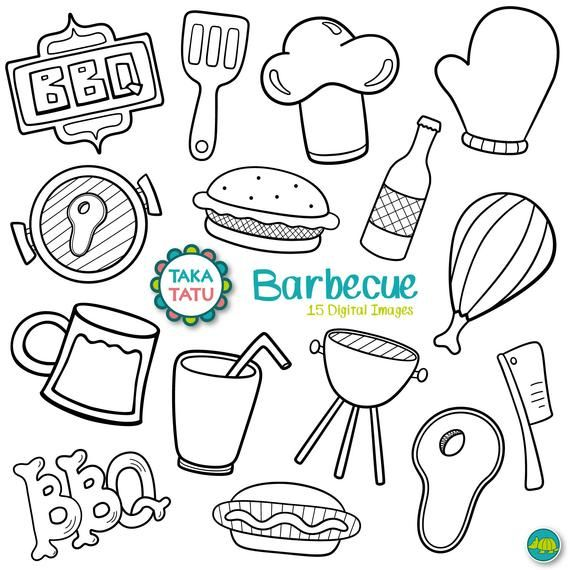 Bbq Digital Stamp Barbecue Doodles Hand Drawn Bbq Clip Etsy In 2021 Digital Stamps How To Draw Hands Doodles