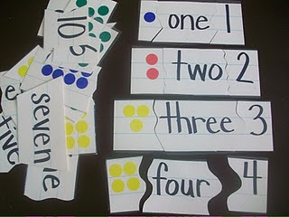 Love this! Number Sense Puzzle Pieces using picture, word and symbol