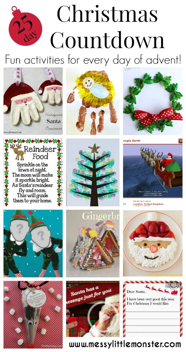 Christmas advent countdown.  Fun crafts and activities for everyday of advent. Perfect ideas for toddlers, preschoolers and older kids.