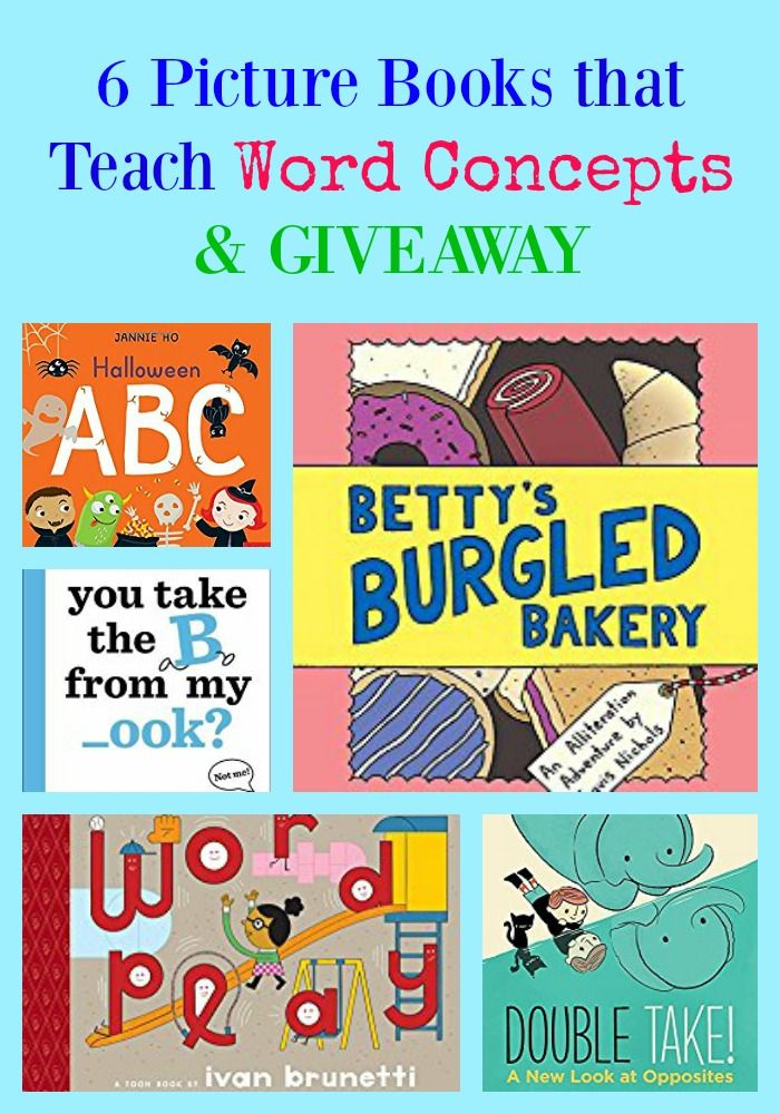 6 Picture Books That Teach Word Concepts & GIVEAWAY. #literacy #teachers #reading