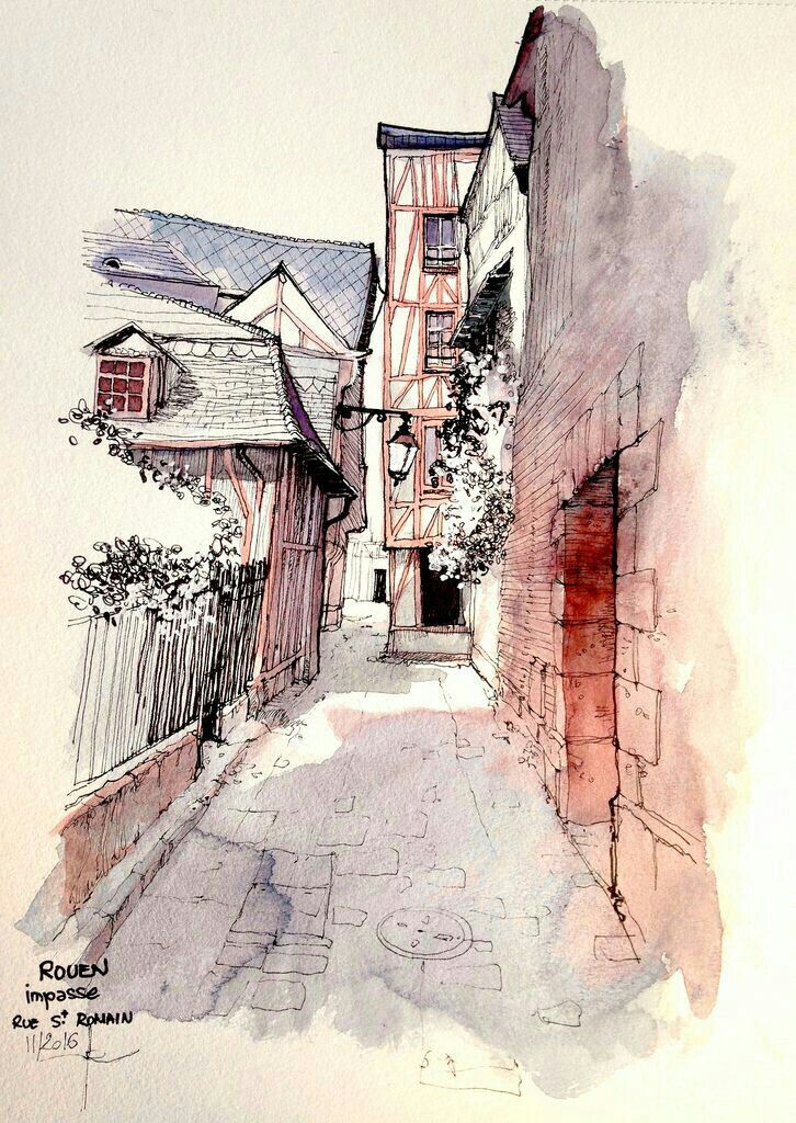 Akvarel.. - Page 14 0e1670707d7ee6d954d186ea664547fb--watercolor-sketch-drawing-scenery