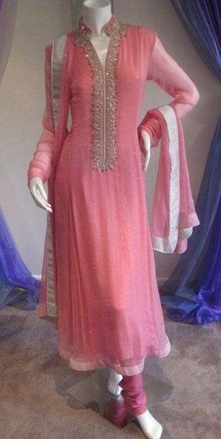 Pink Anarkali Churidar Suit